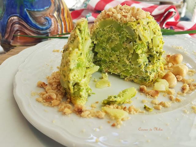 Flan de bróculi con avellanas