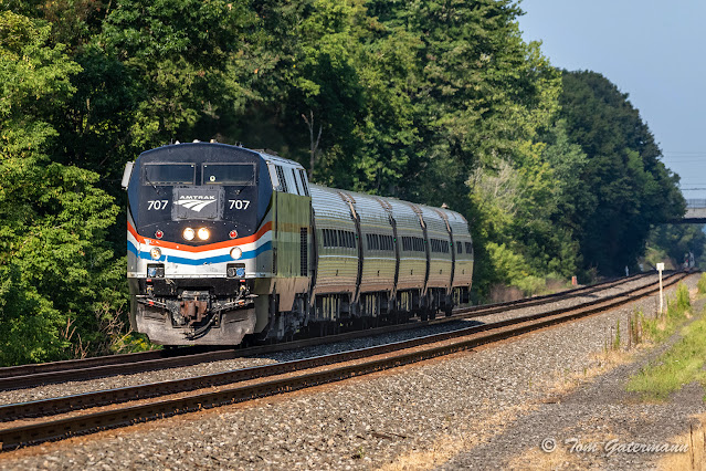 AMTK 707 leading Empire Service Train 284, at Herman Rd., in Warners, NY.