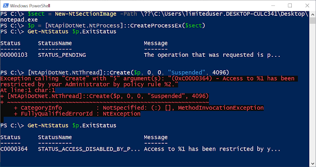 Screenshot of PowerShell showing the process creation and error when a thread is added.