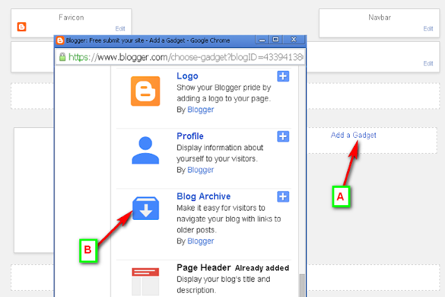 Add Blog Archives Widget For Blogger