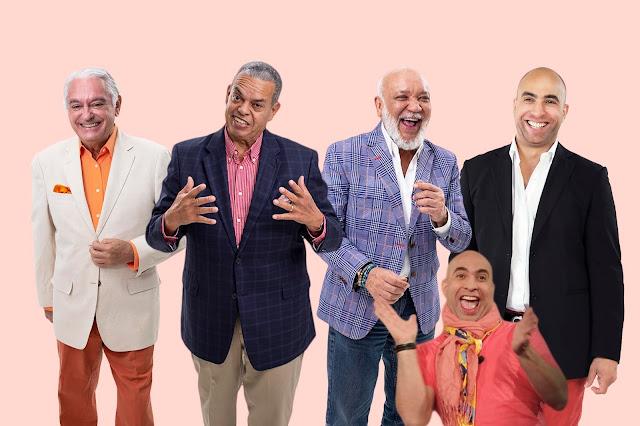 """Jochy Santos, Cuquín Victoria. Felipe Polanco """"Boruga"""" y  Irving Alberti y Darisho."""