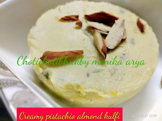 Creamy pistachio almond kulfi is a homemade kulfi which you can cook easily .It has goodness of milk and health benefits of nuts