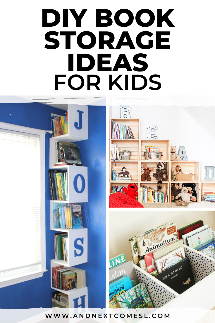 DIY book storage ideas for kids - great tips and ideas for how to store children's books