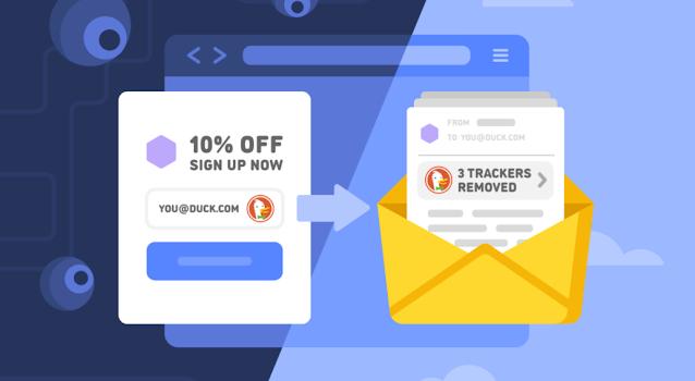 يعتني DuckDuckGO بحماية خصوصية البريد لمنع متتبعات البريد الإلكتروني وإخفاء عنوانك