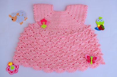 2 - Crochet Imagenes Vestido con abanicos a relieve por Majovel Crochet