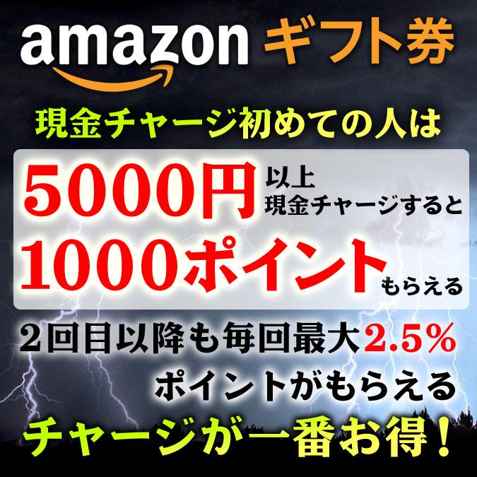 たった5000円のAmazonギフト券現金チャージで1,000ポイントもらえる!初チャージの人が対象