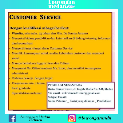 Lowongan Kerja Juni 2020 Teraru di PT Solusi Nusantara Medan Sebagai Customer Service