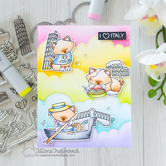 I Love Italy Card by Tatiana Trafimovich | Newton Dreams of Italy Stamp Set and Sky Borders Die Set by Newton's Nook Designs #newtonsnook #handmade