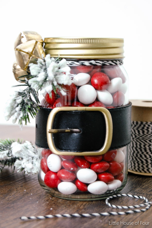 Dollar Tree glass jars turned Santa belt jars