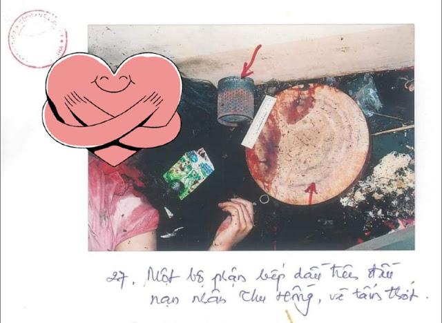 Ông Nguyễn Hòa Bình nói sao với chiếc thớt dính đầy máu này, hay hình ảnh này là giả?