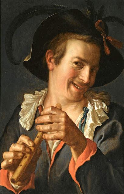 Peter Wtewael (1596-1660) Le flutiste souriant, 1623 Huile sur panneau 36,3 x 59,8cm  peintre hollandais, caravagiste, manierisme