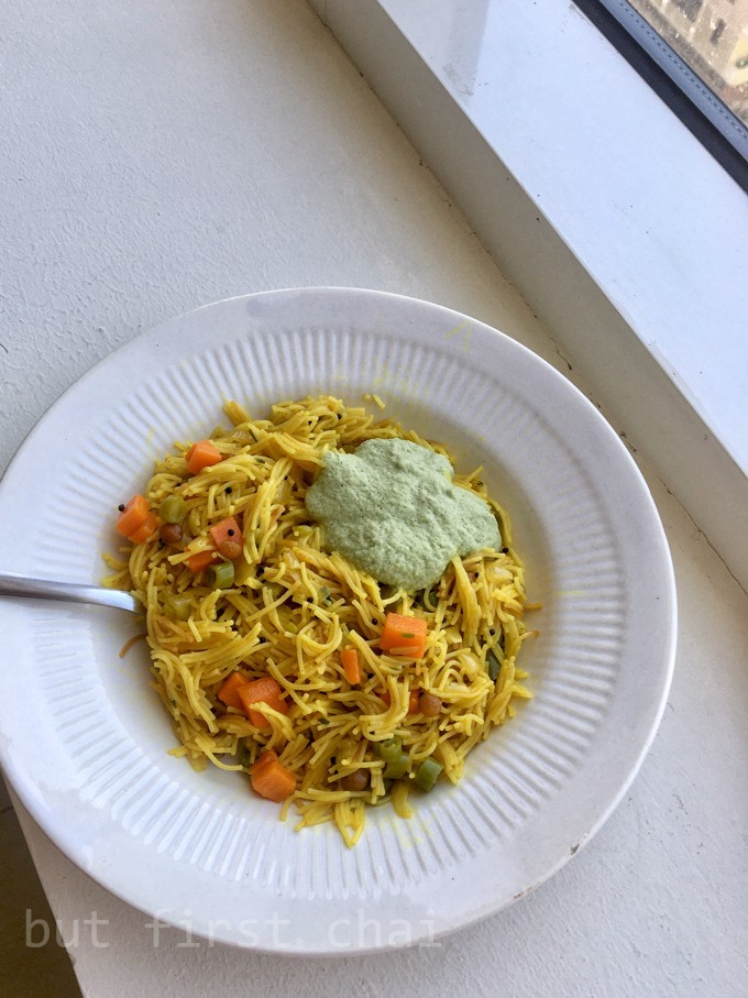 Semiya upma served with coconut chutney