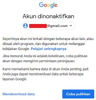 Cara memulihkan akun Gmail yang dinonaktifkan