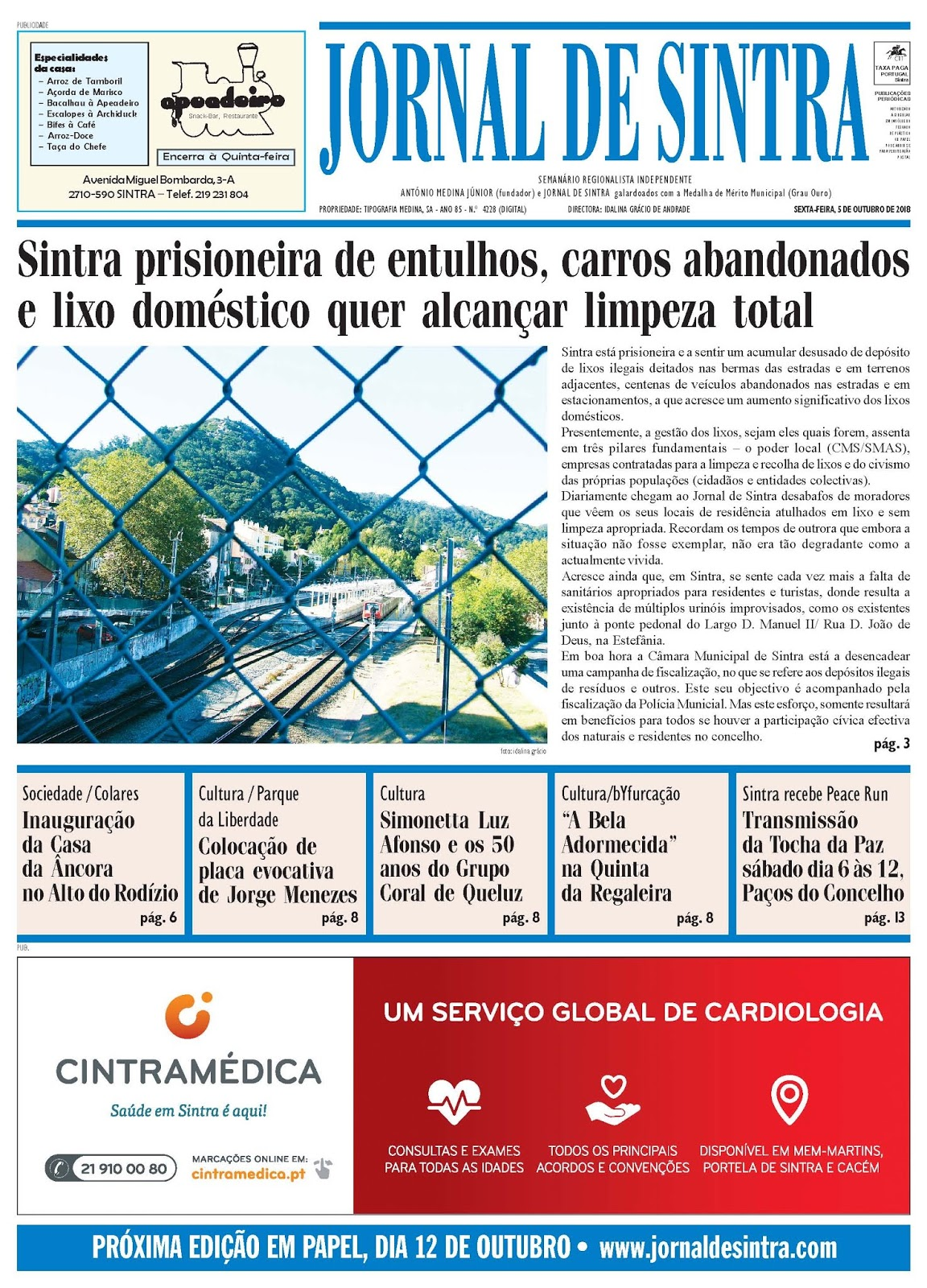 Capa da edição de 05-10-2018