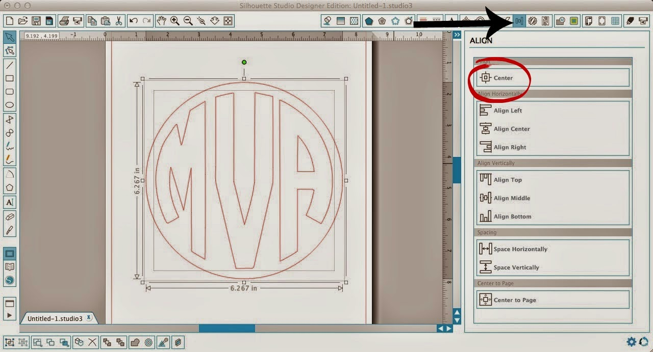 Circle monogram, two, one cut, Silhouette Studio, Silhouette tutorial, align tool, center