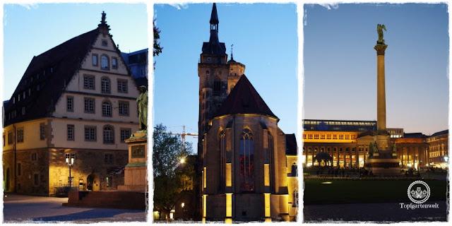 Gartenblog Topfgartenwelt Stuttgart: bei Nacht Blick auf die Kirche