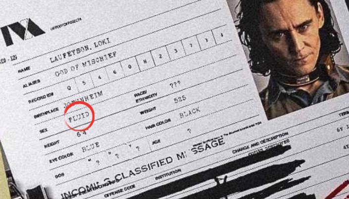 """Imagem: o arquivo do personagem Loki no vídeo de divulgação da série em que se vê a foto do personagem, o nome Laufeyson, Loki, suas informações e circulado em vermelho o campo que diz """"sex: fluid""""."""