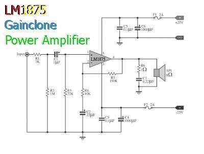 Skema Rangkaian Power amplifier gainclone LM1875