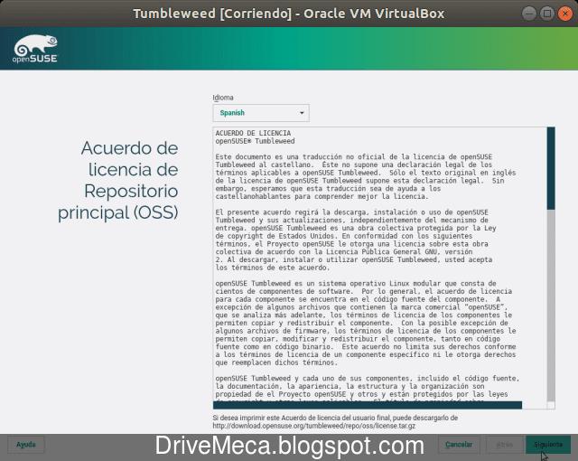 Leemos y aceptamos la licencia de uso de OpenSUSE Tumbleweed