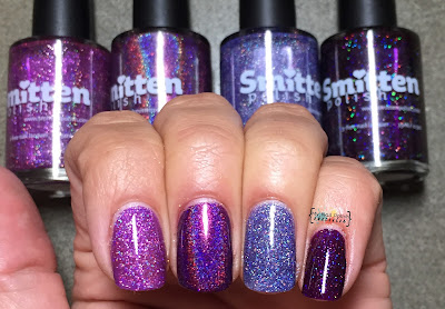 Smitten Polish Something Wicked This Way Plums vs Sparkling Orchid vs Jellyfish Rave vs Smitten By Your Beauty