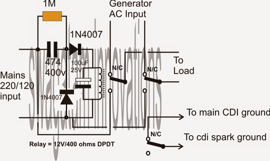 Grid Mains To Generator Changeover Relay Circuit