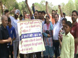 agitation-against-women-act-in-faridabad