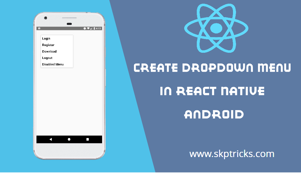 Create Dropdown Menu In React Native | SKPTRICKS