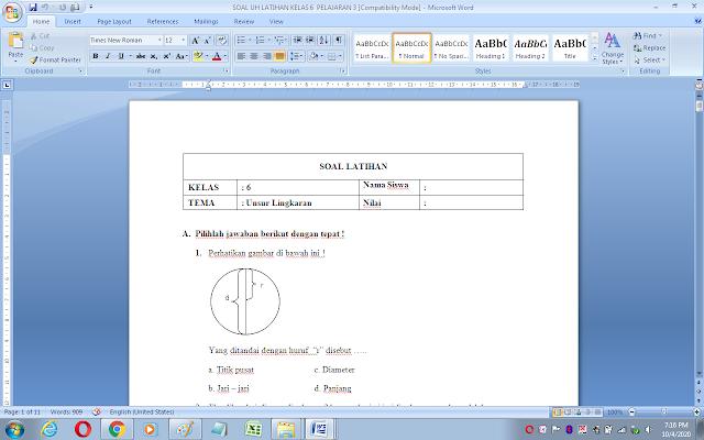 Soal ulangan harian matematika kelas 6 materi unsur lingkaran