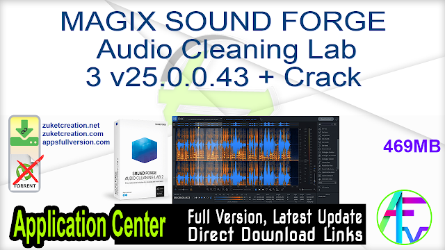 MAGIX SOUND FORGE Audio Cleaning Lab 3 v25.0.0.43 + Crack