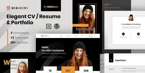 Best Elegant CV, Resume & Portfolio Elementor Template Kit