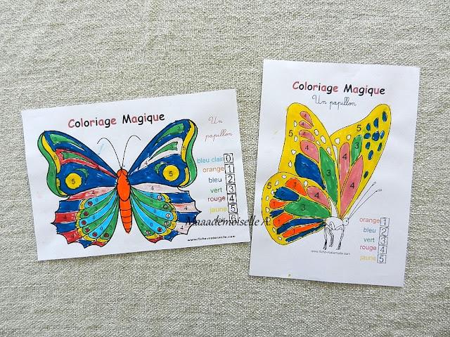 || Nos activités sur les papillons : Coloriage magique
