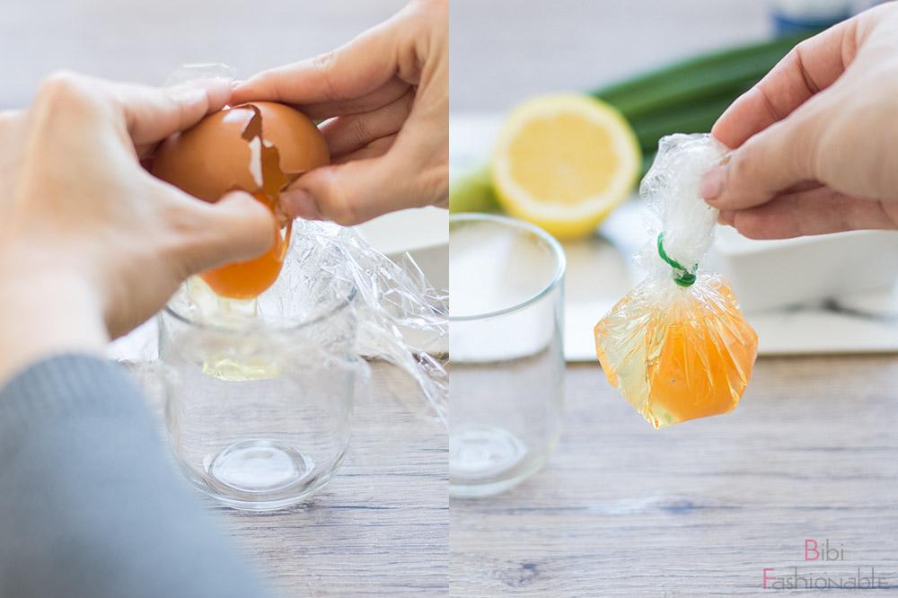 Vorbereitung pochiertes Ei