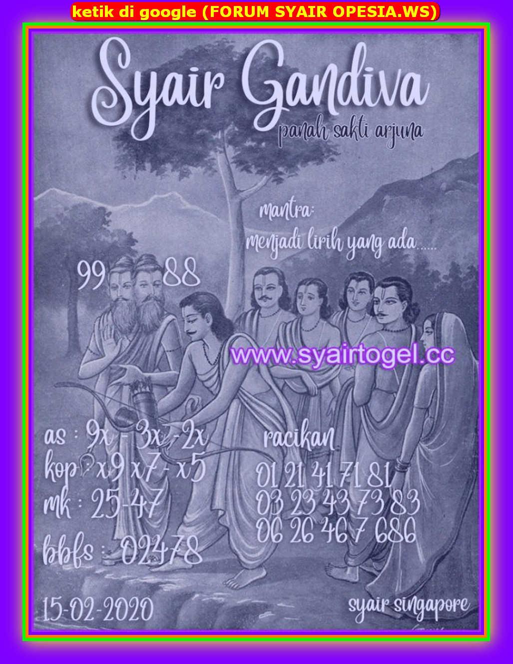 Kode syair Singapore Sabtu 15 Februari 2020 144