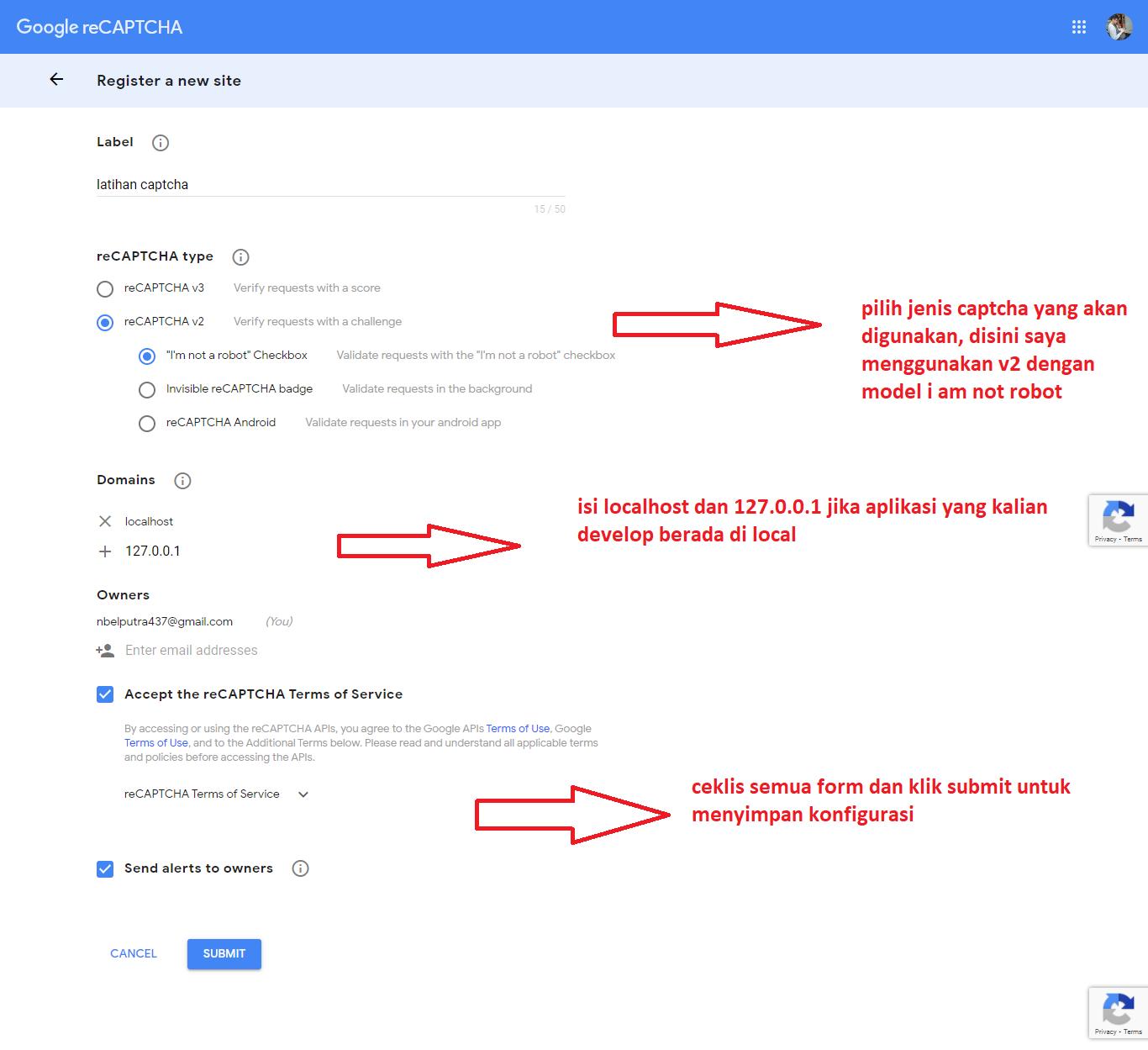 cara membuat google captcha pada laravel