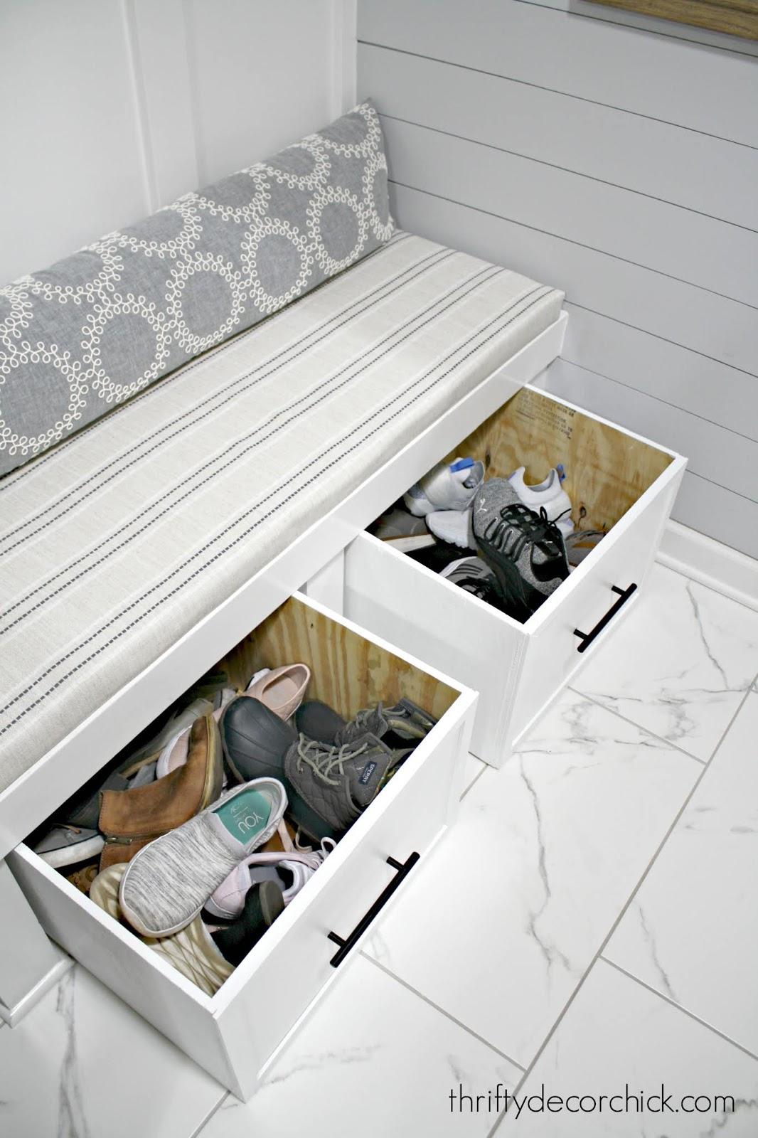 DIY sliding shoe storage for mud room