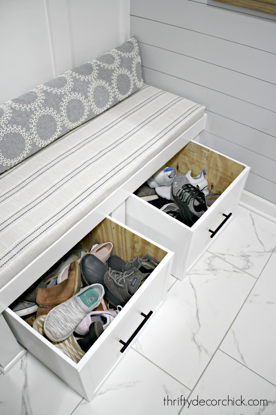 DIY sliding shoe storage for mud room