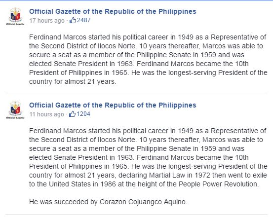 Official Gazette Facebook post