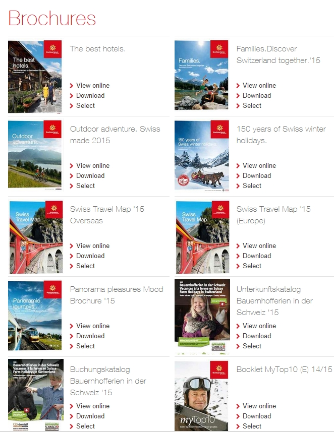 Free brochures from Switzerland Tourism Worldwide