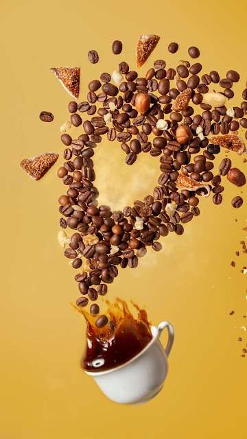 Coffee, Cup, Heart, Coffee Beans, Nuts, Splashes