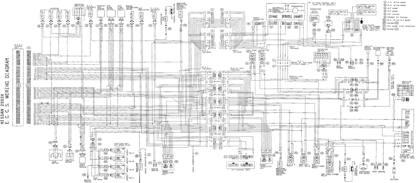 Nissan 200x Eccs Complete Wiring Diagram