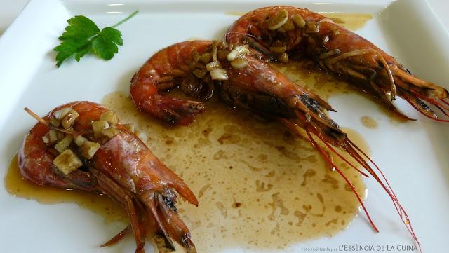 Gambes al conyac, gambas a la plancha, marisc, recepta Nadal, Blog de cuina de la Sonia