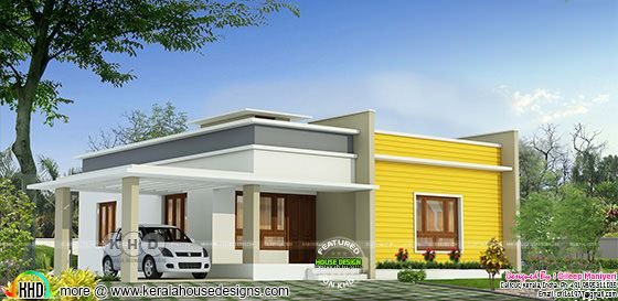 2 bedroom flat roof 1195 sq-ft house plan