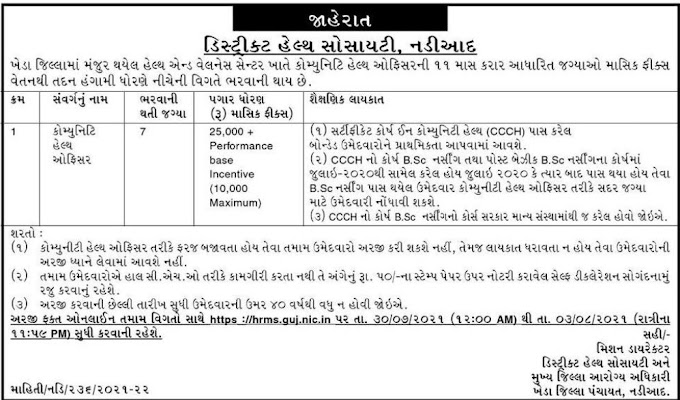 DHS Nadiad Recruitment 2021 | Community Health Officer Posts 2021