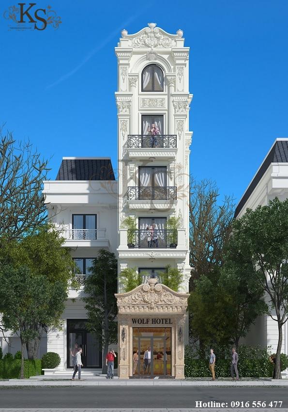 Hình ảnh: Mặt tiền thiết kế khách sạn mini 6 tầng phô diễn khéo léo vẻ đẹp hài hòa của kiến trúc Pháp đến từ châu Âu.