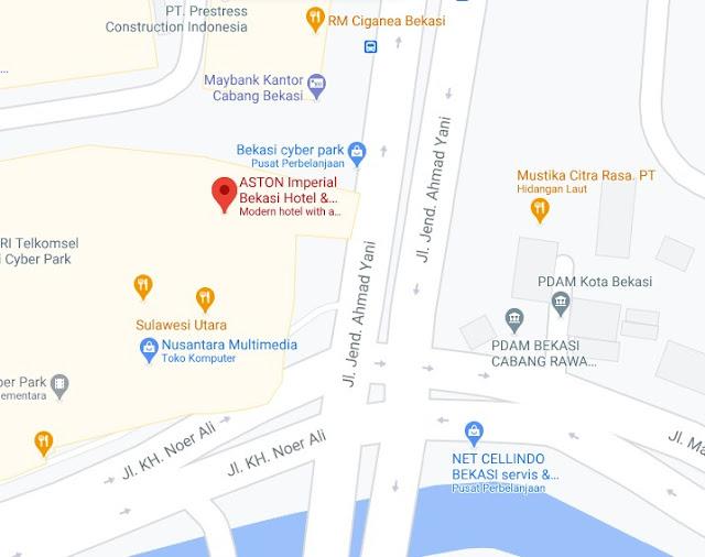 Map Letak Hotel Aston Bekasi