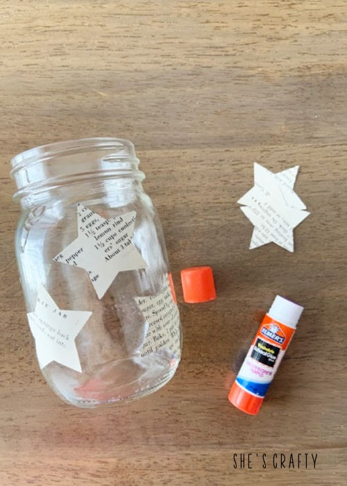 Use glue stick to glue on punched stars to make a table centerpiece