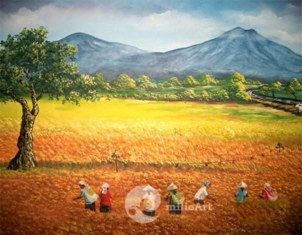 lukisan panen padi
