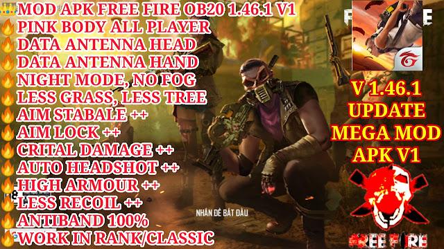 DOWNLOAD MOD APK FREE FIRE OB20 V1 - PINK BODY, DATA ANTENNA, NIGHT MODE, HIGH DAMAGE++, HEADSHOT ++