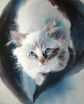 Birma cat Watercolour wet in wet