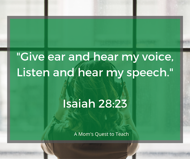 """background photo of woman wearing headphones; Text: """"Give ear and hear my voice, Listen and hear my speech."""" Isaiah 28:33"""
